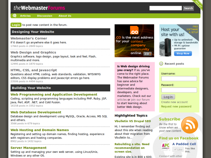 The Webmaster Forums home page