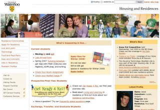 screenshot of the uWaterloo Housing and Residences home page in August, 2007